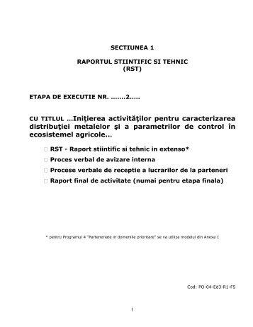 Raport Ştiinţific Etapa 2 Decembrie 2009
