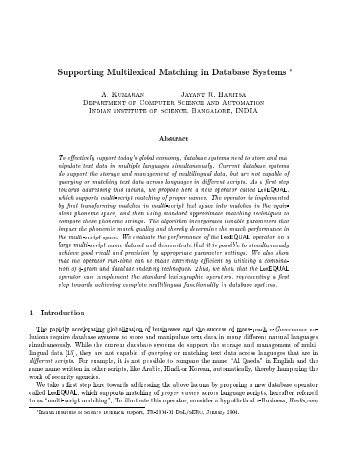 Supporting Multilexical Matching in Database Systems * A ...