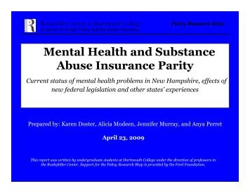 Mental Health and Substance Abuse Insurance Parity - Rockefeller ...