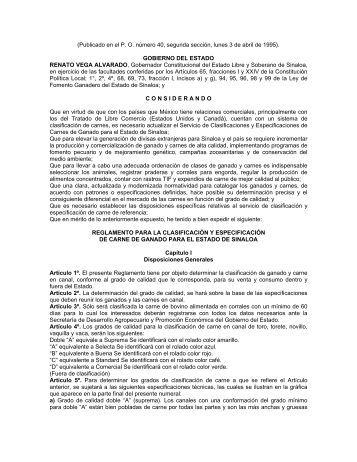 Reglamento para la Clasificación y Especificación de Carne