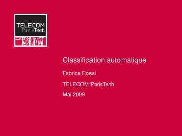 Classification automatique - Fabrice Rossi