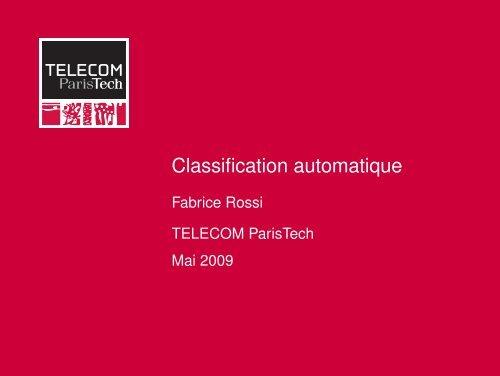 Classification automatique - Fabrice Rossi