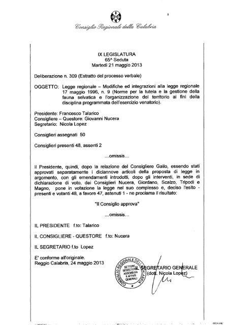 Regione Calabria Caccia E Pesca Calendario Venatorio.309 Consiglio Regionale Della Calabria