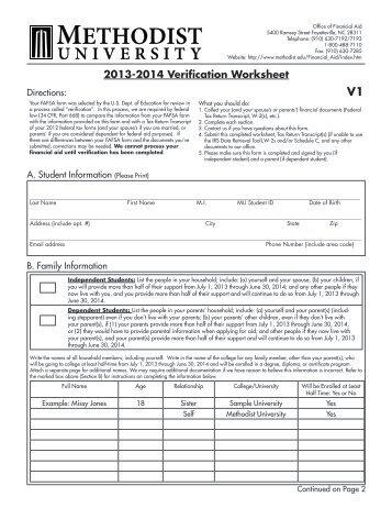 2013 2014 dependent independent verification worksheet v1. Black Bedroom Furniture Sets. Home Design Ideas
