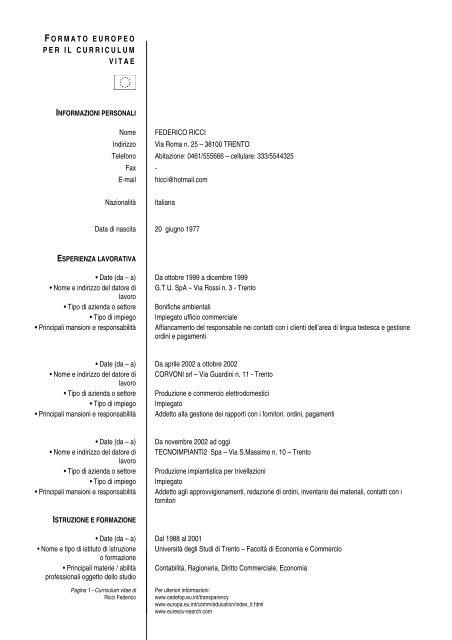 Esempio Curriculum Vitae Europeo Agenzia Del Lavoro