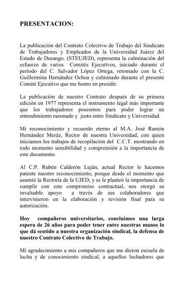 Contrato Colectivo Vigente Universidad Tecnologica De