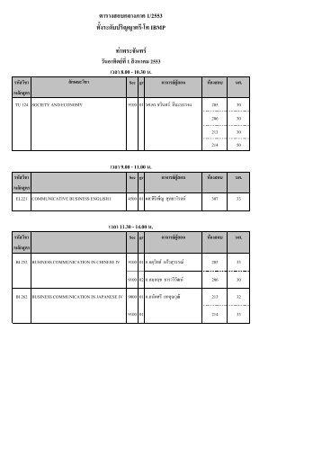 ตารางสอบกลางภาค 1/2553 ทั้งระดับปริญญาตรี-โท IBMP ท