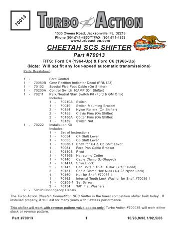 70013 CHEETAH SCS Shifter - Turbo Action