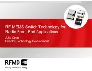 RF MEMS Switch Technology for Radio Front End - RF Micro Devices