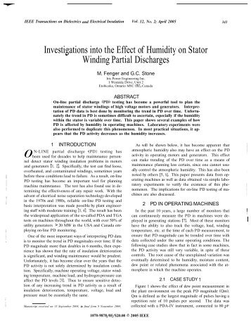 investigations into the effect of humidity on stator winding partial ...