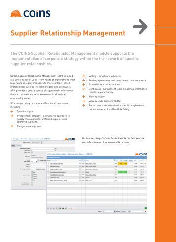 Supplier Relationship Management - the COINS USA Client Area