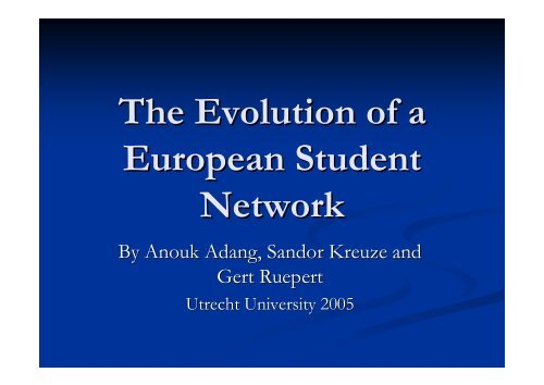 The Evolution of a European Student Network - HERODOT Network ...
