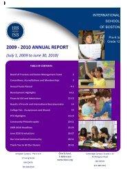 2009 - 2010 ANNUAL REPORT - International School of Boston