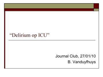 """""""Delirium bij de oudere ICU populatie"""""""