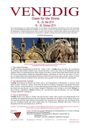 Reiseinformation Venedig 3 Tage - Logos Reisen