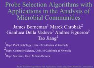 Probe Selection Algorithms with Applications in the Analysis of ...