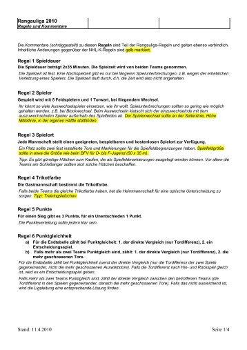 Die Regeln - Rangauliga
