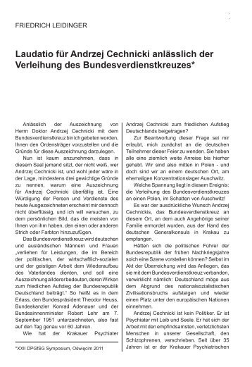 Friedrich Leidiger Laudatio für Andrzej Cechnicki