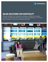 WLAN Solutions for Hospitality - Wireless Network Solutions - Motorola