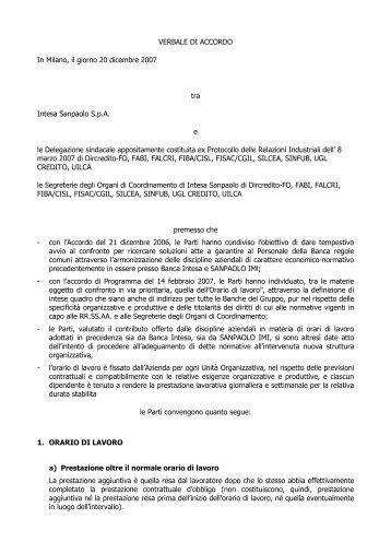 accordo orario di lavoro 20/12/2007 - UGL