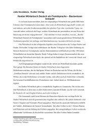 Hueber Wörterbuch Deutsch als Fremdsprache ist das erfolgreiche ...