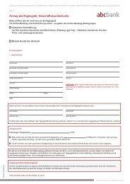 Antrag abcTagesgeld, Geschäftskundenkonto - abcbank