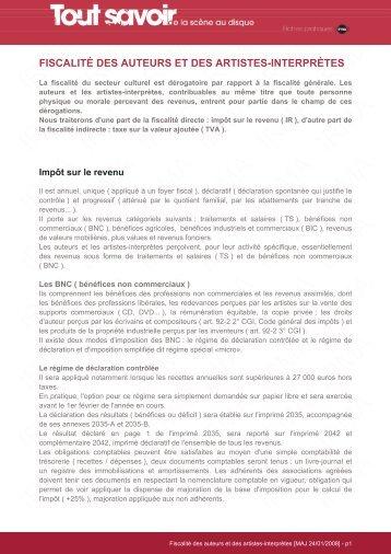 Fiscalité des auteurs et des artistes-interprètes - La NACRe