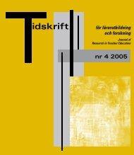 Tidskrift för lärarutbildning och forskning 4/2005