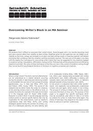 Overcoming Writer's Block in an MA Seminar - Zeitschrift Schreiben