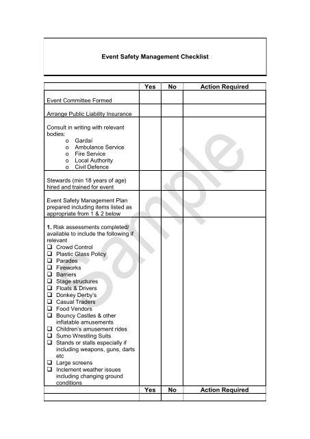 Event Safety Management Checklist