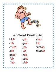 -ab Word Family List