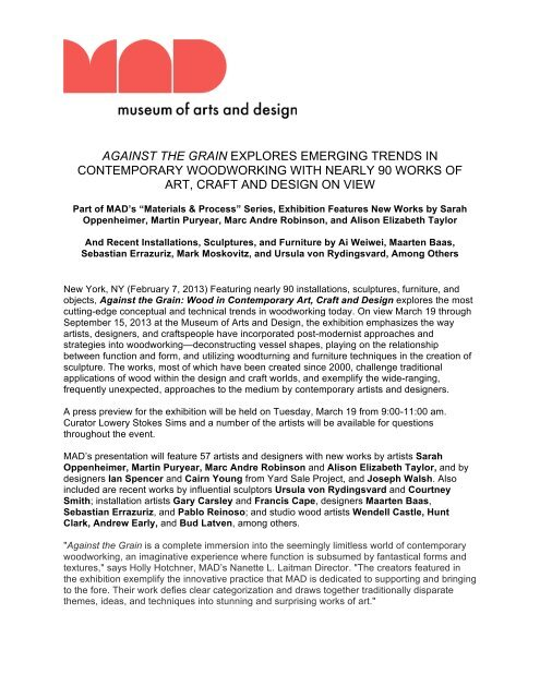 Against The Grain Press Release Pdf Museum Of Arts And Design