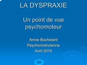 Une approche psychomotrice de la dyspraxie - Resodys