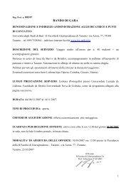 BANDO DI GARA D'APPALTO - Dipartimento di Giurisprudenza