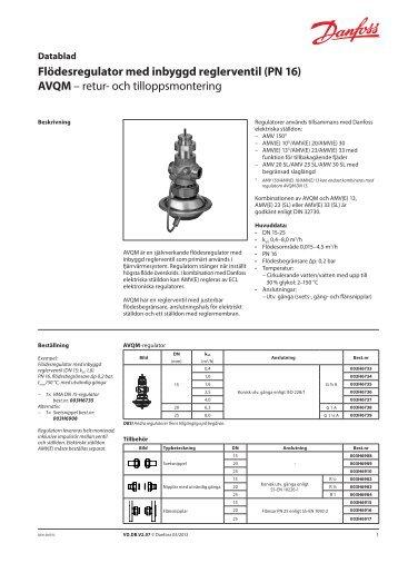 Flödesregulator med inbyggd reglerventil (PN 16) AVQM – retur ...