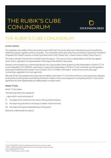 THE RUBIK'S CUBE CONUNDRUM - Dickinson Dees