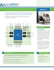 WM8569 Product Flyer - Wolfson Microelectronics plc