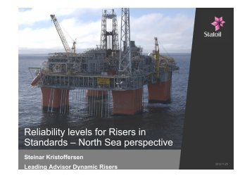 Reliability levels for Risers in Standards – North Sea perspective