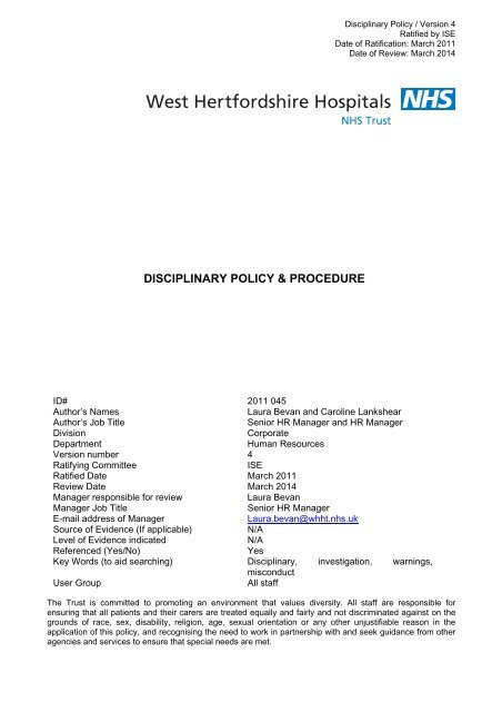 Disciplinary Policy Procedure West Hertfordshire Hospitals Nhs