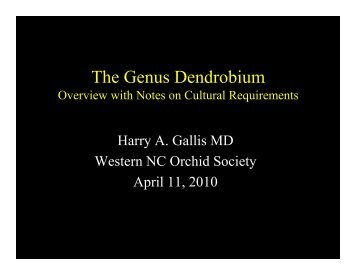 The Genus Dendrobium - Western North Carolina Orchid Society