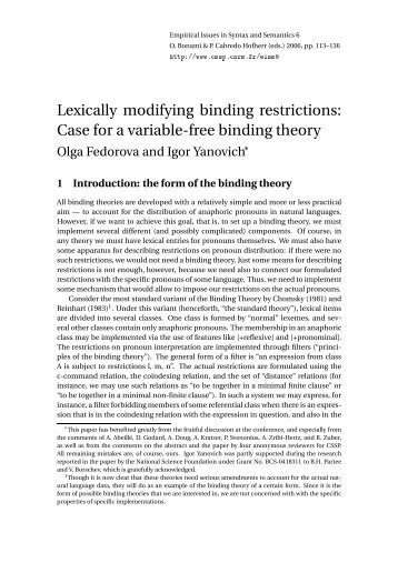 Lexically modifying binding restrictions: Case for a variable ... - CSSP