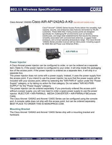 802.11 Wireless Specifications - Corecashless.com