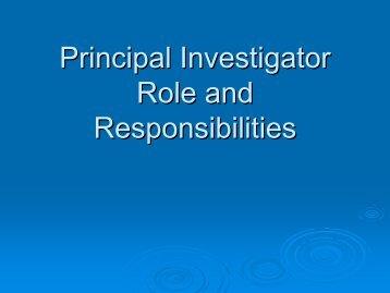 PI Roles and Responsibilities