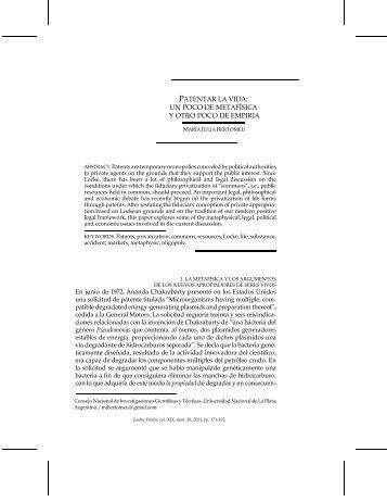 PATENTAR LA VIDA: UN POCO DE METAFÍSICA Y ... - Ludus Vitalis