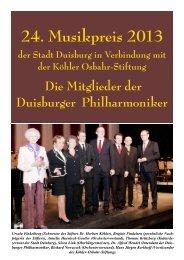24. Musikpreis 2013 - Köhler-Osbahr-Stiftung