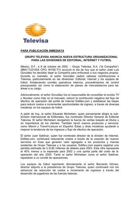 Para Publicación Inmediata Grupo Televisa Anuncia