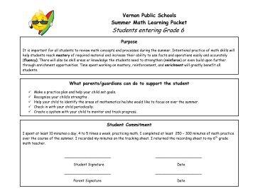 Summer Math Packet Entering Grade 6 - Vernon Public Schools