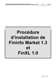 Procédure d'installation de Fininfo Market 1.3