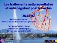 Les traitements antiplaquettaires et anticoagulant post