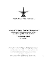 2012-2013 JDSP Teacher Resource Packet - Milwaukee Art Museum